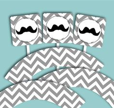 Mustache Theme Party/ Baby Shower Cupcake Topper and Wrapper Printables