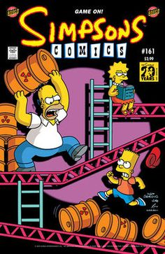 Homer throws a oil-barrel on Bart, who was running and absolutely riding on top of the oil-barrels. But Lisa reading a book but sees Homer throwing.Note: This comic issue is primarily based on the scene from all the Donkey Kong video games. #annoyance