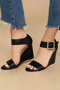 The Neysa Black Ankle Strap Wedges will be a staple in your collection from here on out! A wide, vegan leather toe strap creates a cute peep-toe upper, and sturdy heel cup with matching ankle strap, and oversized, shiny gold buckle. Black Peep Toe Wedges, Ankle Strap Wedges, Peep Toe Shoes, Black High Heels, Ankle Straps, Wedge Shoes, Black Wedge Sandals, Cute Shoes, Me Too Shoes