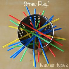 Use colored straws to push through the holes while using a pincer grip. This activity will improve fine motor skills.
