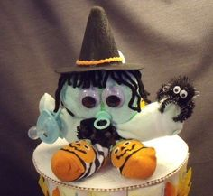 Fall Witch Halloween Diaper Cake Baby Shower Gift Centerpiece