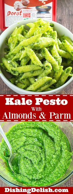 Easy Kale Pesto With Almonds & Parmesan is a traditional pesto sauce recipe with a twist. Instead of basil, this pesto uses fresh kale with wholesome almonds, garlic, parmesan, and lemon juice. It's perfect on gluten free pasta, or even as an appetizer over fresh mozzarella!  #ad #mydorot #elevateyourplate
