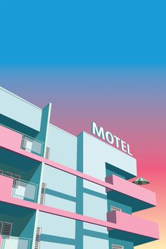 'Hollywood Motel - Vaporwave poster' by craig burton Miami Art Deco, Retro Kunst, Retro Art, Building Illustration, Digital Illustration, Vaporwave Art, Art Deco Buildings, Aesthetic Art, Gouache