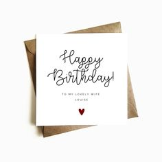 Personalised Wife Birthday Card - Individually Handmade in the U.
