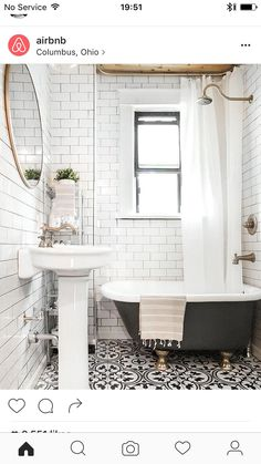 black and white bathroom tile in Jonah's/guest bathroom Upstairs Bathrooms, Laundry In Bathroom, Downstairs Bathroom, Bathroom Renos, Bathroom Flooring, Bathroom Interior, Small Bathroom Tub Ideas, Small Bathroom With Window, Patterned Tile Bathroom Floor