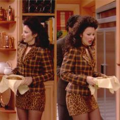 Leopard Print Outfits, Animal Print Outfits, Faux Fur Collar, Fur Collars, Clueless Outfits, Cute Outfits, Fran Fine The Nanny, Fran Fine Outfits, Nanny Outfit