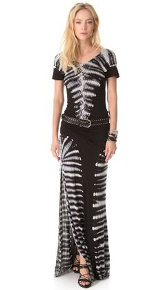 Young Fabulous & Broke Montauk Carnivale black and white graphic dye Maxi Dress. What a statement!