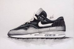 Nike Air max 1 Watercolor paintings of sneakers by Achildcolor