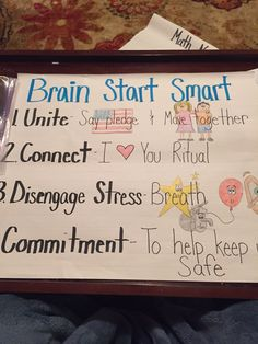 Anchor chart for brain start smart. Conscious discipline