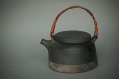 Latvian earthenware reduction wood-fired teapot with willow handle by Laima Grigone