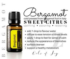 B E R G A M O T Bergamot essential oil comes from the bergamot fruit, grown primarily in Reggio di Calabria, Italy. Bergamot is unique to Reggio di Calabria because it thrives in the fresh sea-air and acidic soil found in this area. This climate allows growers to harvest high quality fruit that will produce pure essential oil. Different from other citrus fruits, bergamot is actually a bitter-tasting fruit that yields a sweet essential oil. *Caution* Avoid direct sunlight or UV rays to…