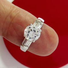 Real 14KT White Gold 1.80 cts Round brilliant cut Anniversary Engagement ring