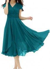 Belt Design Round Neck Short Sleeve Green Dress on sale only US$23.97 now, buy cheap Belt Design Round Neck Short Sleeve Green Dress at lulugal.com