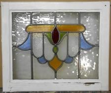"""OLD ENGLISH LEADED STAINED GLASS WINDOW Beautiful Abstract 20.75"""" x 17.25"""" #StainedGlassWindows"""