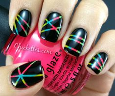Colorful Laser Beam Manicure via chickettes.com