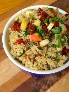 Quinoa with Sun Dried Tomatoes, Apples and Scallions.