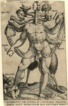 Alchemical engraving. Allegory of the Five Obstinate Monsters, 1575 - 1618.