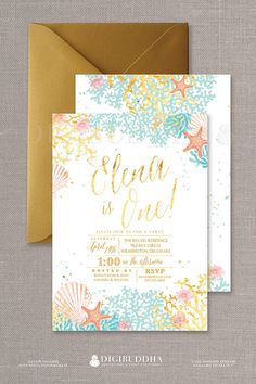 Beach First Birthday Invitations in a Boho Chic Watercolor Ocean Bohemian Style with coral and turquoise shells and starfish, available at digibuddha.com