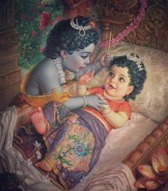 Child Krishna meets baby Radharani for the first time. The Divine Appearance of Srimati Radharani. Lord Krishna Wallpapers, Radha Krishna Wallpaper, Lord Krishna Images, Radha Krishna Pictures, Radha Krishna Photo, Baby Krishna, Krishna Love, Arte Krishna, Krishna Leela