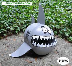 funky shark propane tank garden sculpture