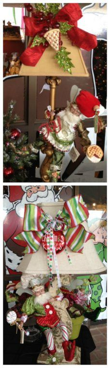 Don't forget about decorating your lamps. Add a Mark Roberts Christmas fairy, ribbon and ornament. Viola!