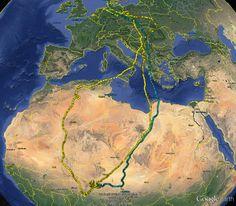 Migratieroute van Grauwe Kiekendief 'Hinrich' 2014/15 (geel) en 2015/16 (blauw). De laatste track is nog niet helemaal gedownload van de logger