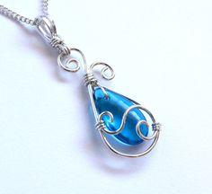 Blue Teardrop Pendant Silver Swirl Wire by FantasiaElegance