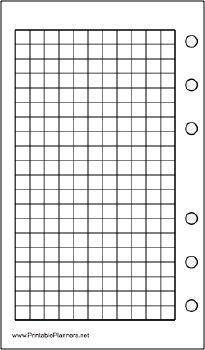 This daily planner page of grid or graph paper goes on the left-hand side of your pocket organizer datebook. It is oriented vertically. Free to download and print