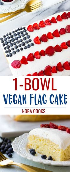 Perfect for the Fourth of July, this Vegan Flag Cake features a vanilla sheet cake, cream cheese frosting and berries, of course! Vegan Treats, Vegan Foods, Vegan Dishes, Best Vegan Recipes, Healthy Dessert Recipes, Vegetarian Recipes, Vanilla Sheet Cakes, Vegan Cream Cheese Frosting, Gateaux Vegan
