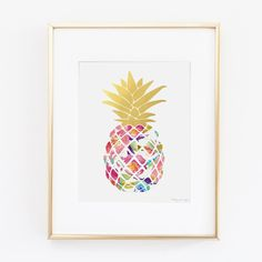 Wall Art Design Ideas, Colroful Fruit Pineapple Wall Art Picture Painting Home Decorations Hanging Golden Color Professional Watercolor ~ Top pineapple wall art metal
