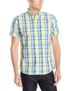NWT Men's IZOD Saltwater Seaport Poplin Plaid Short Sleeve Shirt Classic Fit XL #IZOD #ButtonFront