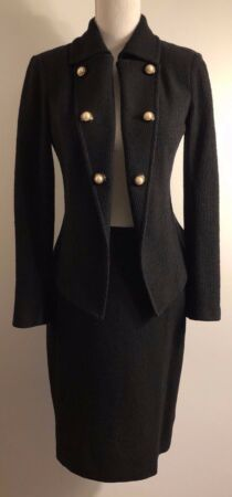 Womens 2 Piece Co-Ord Tweed Boucle Jacket Blazer Twinset Pencil Skirt Party Tops