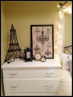 Clocks set for my time zone & another for Paris time zone Paris Theme Decor, Paris Room Decor, Paris Rooms, Paris Themed Rooms, Paris Themed Bedroom Decor, Plywood Furniture, Design Furniture, Refurbishing Furniture, Black Furniture
