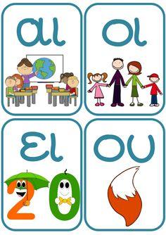 Δίψηφα σύμφωνα, δίψηφα φωνήεντα και συνδυασμοί φωνηέντων με χρώμα, για να χρησιμοποιηθούν ως πίνακες αναφοράς στον τοίχο της τάξης μας. Kai, Activities For Kids, Kids Rugs, Teaching, Comics, Children, Alphabet, Character, Young Children