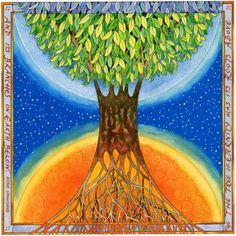 World Tree. This is my interpretation of the World Tree, the cosmic symbol of life and knowledge which appears in many cultures throughout the world.