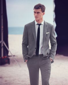 J.Crew men's Ludlow suit in herringbone Italian cotton-silk.