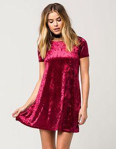 b511fb79712c FULL TILT Velvet Tee Dress Burgundy Rompers Women