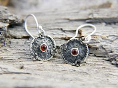 Silver and garnet earrings from Unknown Life Forms by mumijumi