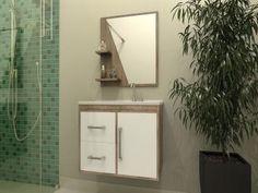 Gabinete para Banheiro com Espelho 1 Porta - 2 Gavetas - Móveis Bechara Madri com as melhores condições você encontra no Magazine Ogaitsmart. Confira!