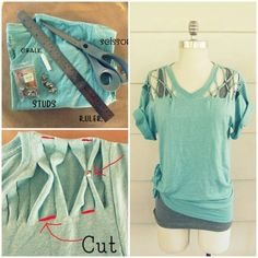 How to make a DIY no sew lattice stud t shirt step by step tutorial instructions