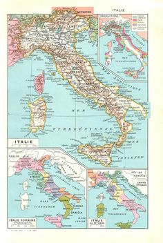 1948 map of Italy Vintage Italy map Antique by FrenchVintagePrints
