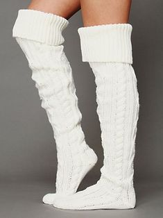 Cable knit thigh high socks. Free People $28.00 - omg #musthave #cozy #fashion