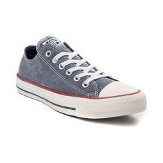 Kick it old school with the classic style of the Chuck Taylor All Star Lo Washed Denim Sneaker from Converse! Forever fashionable, the Chuck Taylor All Star Lo Converse Chuck Taylor All Star, Chuck Taylor Sneakers, Denim Sneakers, Sneaker Stores, Vintage Denim, Washed Denim, Everyday Fashion, Classic Style, Athletic Shoes