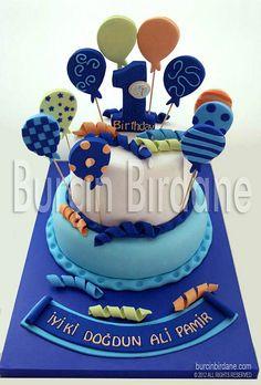Mavi Balonlu 1 Yaş Pastası by burcinbirdane, via Flickr