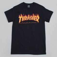 The Thrasher Flame Logo T-shirt in black is an iconic part of skateboard culture. Thrasher clothing has been part of skateboarders style many decades and it doesn't go out of style. Often ripped off,