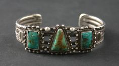 Cuff | Unknown Navajo Artist.  Ingot silver, Turquoise and Hand Drawn Wire.  c.1920