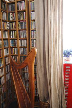 CD storage behind a curtain