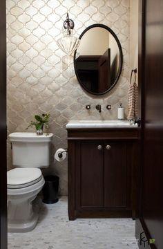 Walker Zanger In Arabesque Silver Leaf Marina Resoration Mediterranean Bathroom San Francisco Plath Company Wall