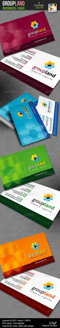 Group Land Business Cards  #GraphicRiver             	 Group Land Business Cards Easy to modify, Fully editable & Resizable, CMYK Color, Print Ready, Printing Bleeds, trims and Guidance are included Free fonts links included inside in help file. If you like, please rate this…  Do You Need Professional Custom Design? I am available for freelance work. Contact me if you are interested! Please feel free to contact me when you encounter problems or have questions! Thanks… 	 Fonts used : Aller…