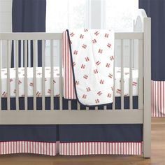 Red and Navy Baseball Boy Crib Bedding Set by Carousel Designs. Crib Bedding Boy, Baby Boy Cribs, Girl Cribs, Baby Boy Rooms, Baby Boy Nurseries, Baby Boys, Babies Nursery, Twin Boys, Vintage Baseball Nursery